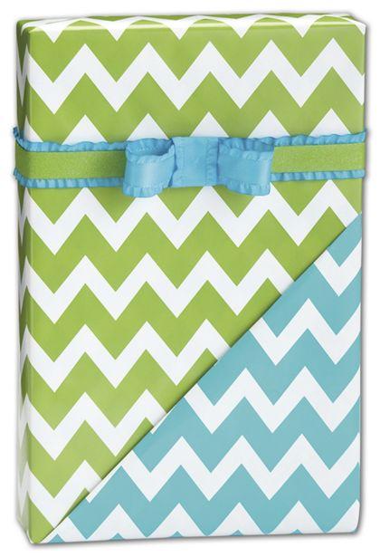 "Chevron Apple/Turquoise Reversible Gift Wrap, 24"" x 417'"