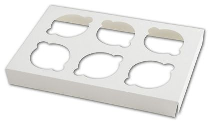 White Insert for Windowed Cupcake Gable Boxes, 6 Cupcakes