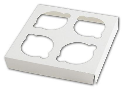 White Insert for Windowed Cupcake Gable Boxes, 4 Cupcakes