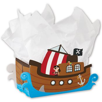Pirate Ship Intricut Basket Boxes, 12 3/4 x 6 x 7 7/8