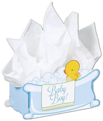 Baby Boy Bubbles Intricut Basket Boxes, 7 7/8x4 1/4x5 3/8