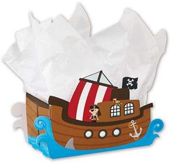 Pirate Ship Intricut Basket Boxes, 9 x 4 1/4 x 5 1/2