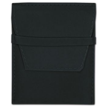 Black Velvet Flap Over Pouches, 3 1/4 x 3 1/4