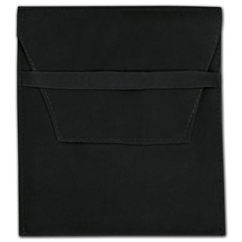 Black Velvet Flap Over Pouches, 5 x 6""