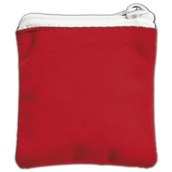 Red Velvet Zipper Pouches, 2 1/2 x 2 1/2