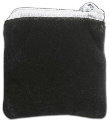 Black Velvet Zipper Pouches, 2 1/2 x 2 1/2