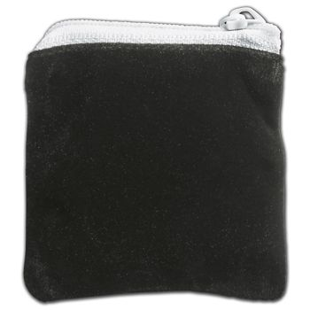 Black Velvet Zipper Pouches, 2 1/2 x 2 1/2""