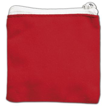 Red Velvet Zipper Pouches, 3 1/2 x 3