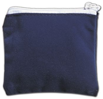 Blue Velvet Zipper Pouches, 3 1/2 x 3