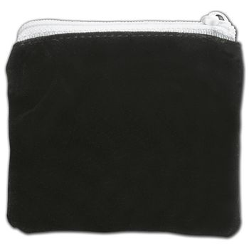 Black Velvet Zipper Pouches, 3 1/2 x 3