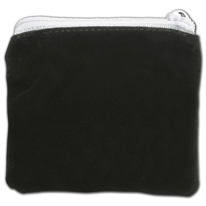 Black Velvet Zipper Pouches, 3 1/2 x 3""