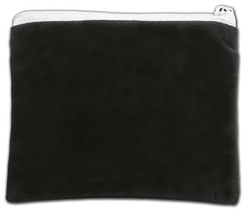 Black Velvet Zipper Pouches, 5 x 4