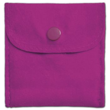 Roseberry Velvet Snap Button Pouches, 3 x 3""