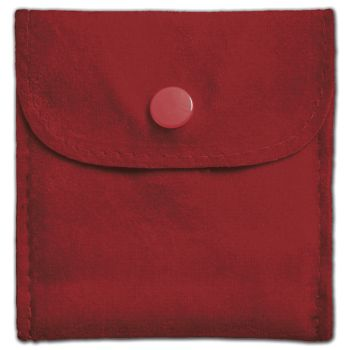 Red Velvet Snap Button Pouches, 3 x 3
