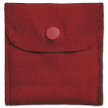 Red Velvet Snap Button Pouches, 3 x 3""