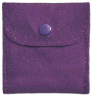 Purple Velvet Snap Button Pouches, 3 x 3