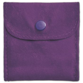Purple Velvet Snap Button Pouches, 3 x 3""