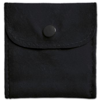 Black Velvet Snap Button Pouches, 3 x 3