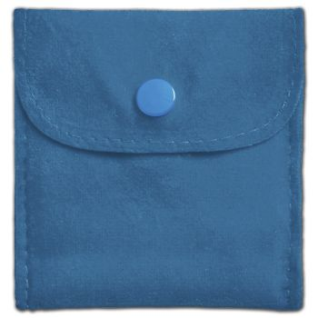 Peacock Blue Velvet Snap Button Pouches, 3 x 3