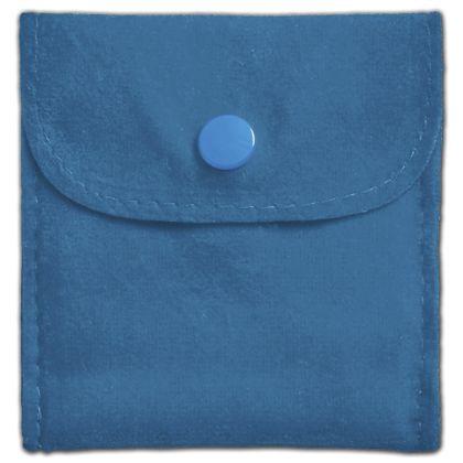 "Peacock Blue Velvet Snap Button Pouches, 3 x 3"""