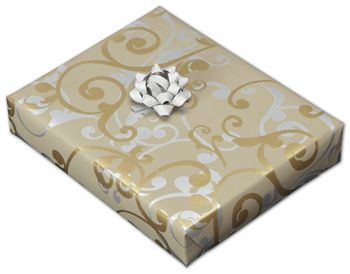 Champagne Curls Jeweler's Roll Gift Wrap, 7 3/8