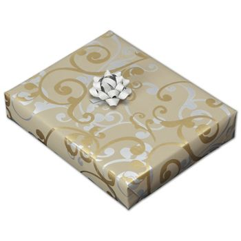 """Champagne Curls Jeweler's Roll Gift Wrap, 7 3/8"""" x 150'"""