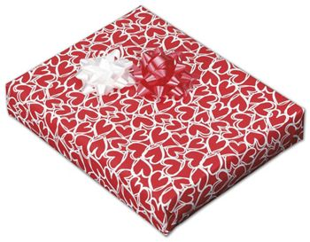 Red Hearts Jeweler's Roll Gift Wrap, 7 3/8