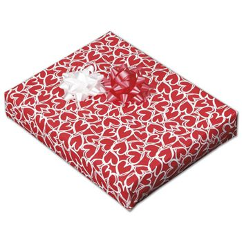 "Red Hearts Jeweler's Roll Gift Wrap, 7 3/8"" x 150'"