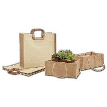 Natural Jute Basket Totes, 12 x 7 x 5""