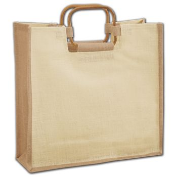 Natural Jute Tote with Cane Handles, 14 x 5 x 14