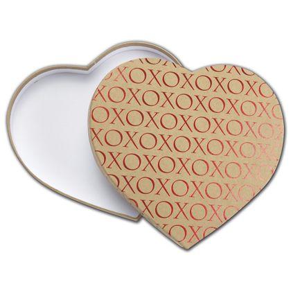 "Kraft XO Heart Candy Boxes, 9 1/8 x 7 1/2 x 1 1/8"""