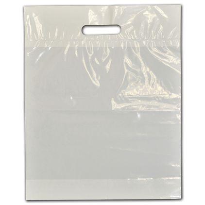 """Clear Low-Density Plastic Die-Cut Bags, 12 x 15"""" + 3"""" BG"""
