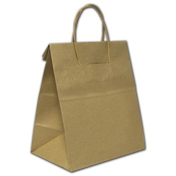 """Recycled Kraft Load and Fold Paper Shoppers, 10x6 3/4x12"""""""