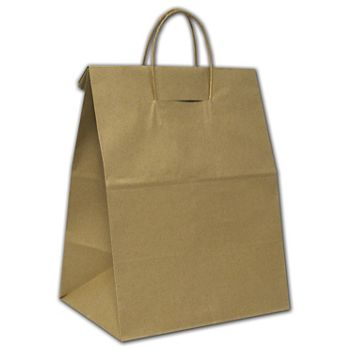 """Recycled Kraft Load and Fold Paper Shoppers, 12x9x15 3/4"""""""
