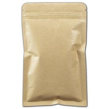 Kraft Flat Zipper Pouches, 5 1/8 x 8 1/4