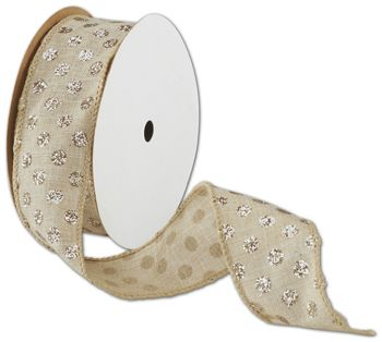 Wired Glitter Dot Natural Ribbon, 1 1/2
