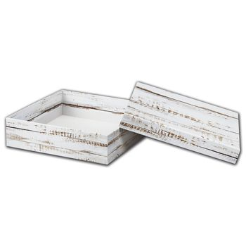 Distressed White Wood Rigid Gourmet Window Boxes, Large