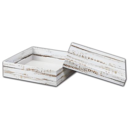 Distressed White Wood Rigid Gourmet Boxes, Large