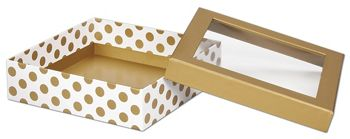 Metallic Gold Dots Rigid Gourmet Window Boxes, Large