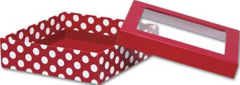 Red and White Dots Rigid Gourmet Window Boxes, Large