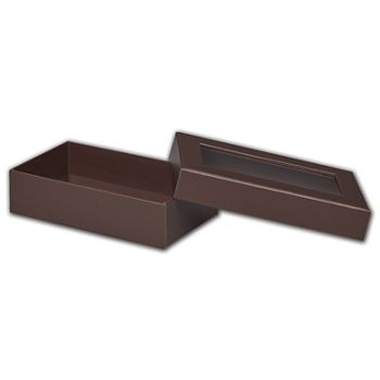 Chocolate Rigid Gourmet Window Boxes, Large Rectangle