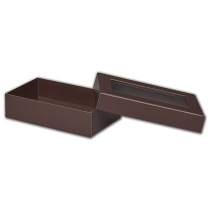 Chocolate Rigid Gourmet Window Boxes, Large Rectangle