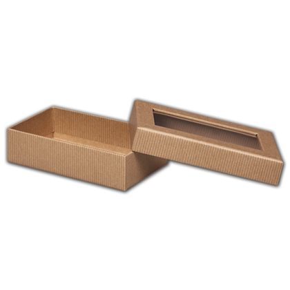 Kraft Stripes Rigid Gourmet Window Boxes, Large Rectangle