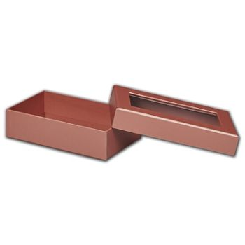 Rose Gold Metallic Rigid Gourmet Window Boxes Lg Rectangle