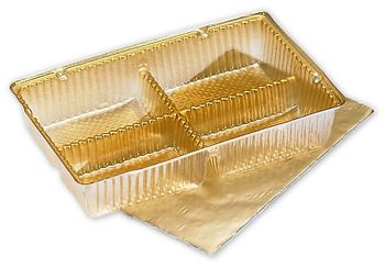 Gold Ballotin Trays, 4 1/2 x 2 3/4 x 7/8