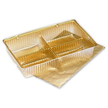 Gold Ballotin Trays, 4 1/2 x 2 3/4 x 7/8""