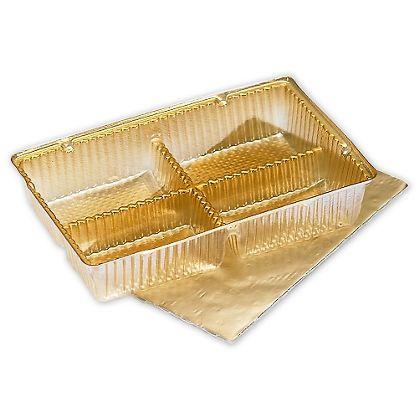 """Gold Ballotin Trays, 4 1/2 x 2 3/4 x 7/8"""""""