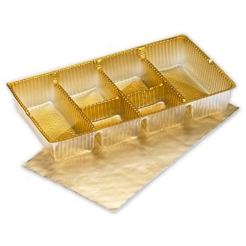 Gold Ballotin Trays, 6 1/4 x 3 1/2 x 1