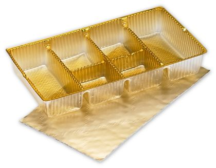 Gold Ballotin Trays, 6 1/4 x 3 1/2 x 1""