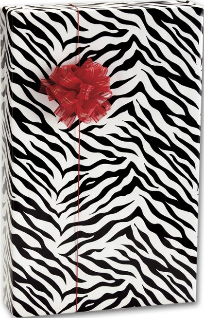 "Zebra Stripes Gift Wrap, 24"" x 100'"